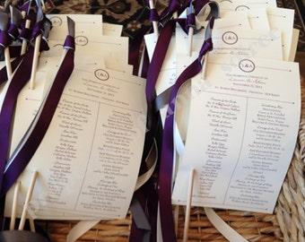 WEDDING CEREMONY PROGRAMS with ribbon wand attached!!  Customized for any theme, colors, fonts