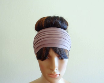 Dark Tan Headband. Wide Head Wrap
