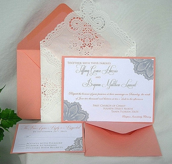 Items similar to Wedding Invitation Coral Peach and Silver ...