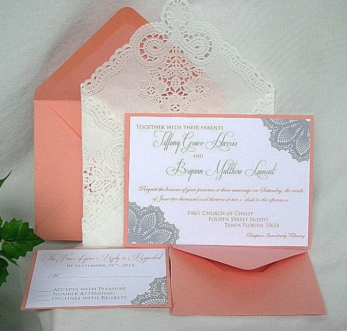 wedding invitation coral peach and silver grey lace doily,