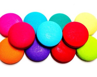Medium Summer Bright Colorful Print Button Earrings