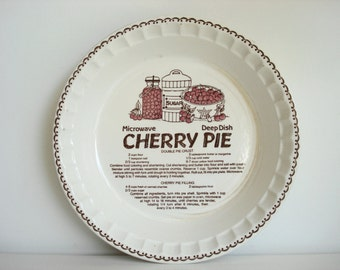 Vintage Pie Plate Royal China Country Harvest Ceramic Microwave Deep Dish Cherry Pie Plate