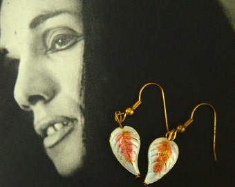 A Set of Cloisonne and Beaded Earrings - White Leaves