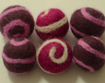 6pcs Swirl Wool Felt Balls (2cm)