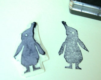 Penguin Rubber Stamp Etsy