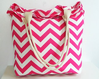 Candy Pink Chevron Beach Tote Bag, Carryall, Lightweight with Zippered Pocket, Great Gift