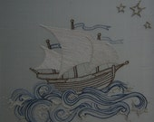 Hand Embroidery pattern pirate ship. Embroidery instructions & pattern. ship sea design.