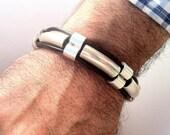 Mens leather bracelet, Leather bracelet for men. unisex bracelet. leather bracelet. Gift for husband. silver bracelet