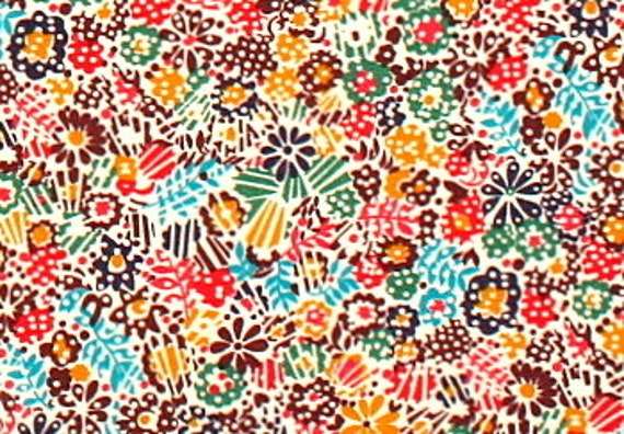 Liberty Clarricoates Red Aqua Green Gold Dotty Floral Large Fat Eighth Tana Lawn Fabric