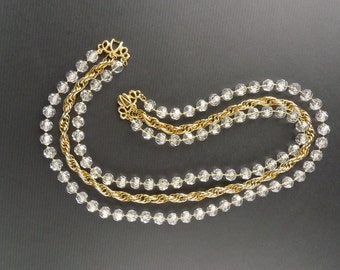Sparkling Crystal Necklace with Gold ChainVintage