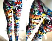 SALE NEW Womens Comic Book Love Heart Graffiti Bang Zap Star Smile Batman super hero Leggings tights plus size