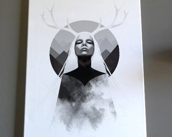 Inheritance - Giclee Canvas Print - female, nature, antlers, mountains