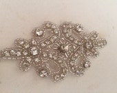 BEST SELLER - Ships from USA - Beaded rhinestone applique, bridal beaded applique, wedding applique, wedding belt applique, rhinestone trim