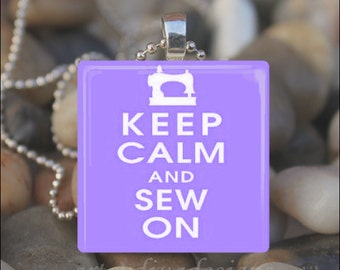 KEEP CALM and SEW On Yarn Thread Sewing Machine Glass Tile Pendant Necklace Keyring