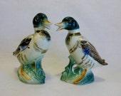 Mid Century Hand Painted Porcelain Mallard Duck Figurines ~ Drake ~ Vintage Animal Figurine Set for Garden or Pond Decor