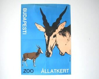 SUMMER SALE 30% OFF!!  Budapest Zoo Advertising Poster - 1964- blue springbok design- Budapest Hungary