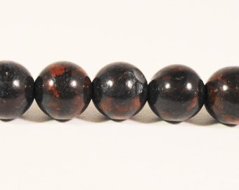 Bloodstone Gemstone Beads 6mm Round Dark Charcoal Gray (Grey) and Red Stone Beads for Jewelry Making on a 7 1/4 Inch Strand with 30 Beads