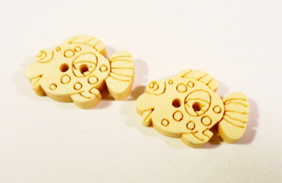 Wooden Fish Buttons 20x15mm Unfinished Carved Wood Two (2) Hole Nautical Buttons for Sewing, Crafts, Scrapbooking, and Jewelry Making 10pcs