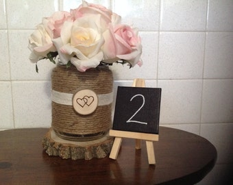 8 rustic wedding table numbers mini canvas on a mini easel decoration