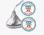 Dr Seuss Thing 1 and Thing 2 - Personalized Hershey Kiss Stickers, Hershey Kiss Labels, Party Favors, Favor Sticker