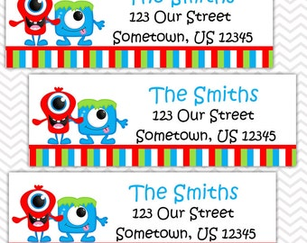 Monsters - Personalized Address labels, Stickers, Baby Shower, Birthday