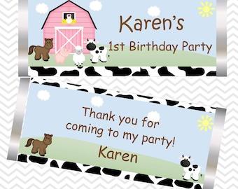 Barn Yard Pink Farm Animals  - Personalized Candy Bar Wrapper