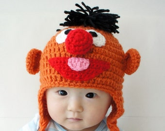 Ernie Muppet Hat, Ernie, Crochet Baby Hat, Baby Hat, Animal Hat, photo prop, orange, Inspired by Ernie on Sesame Street