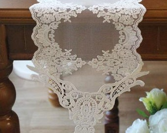 Free Shipping Handmade Wedding Flower Lace White Table Doily Runner,Embroidery 21x180cm