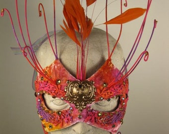 Orange and Pink Heart Masquerade Mask