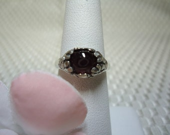 Oval Cabochon Ruby Ring in Sterling Silver   #1164