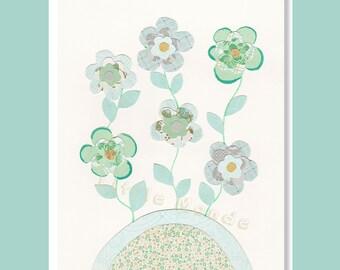 Baby Girl Nursery Prints, Nursery Art, Flowers Nursery, Garden Illustration, Children's Art, Turquoise Nursery Art, Blue And Green
