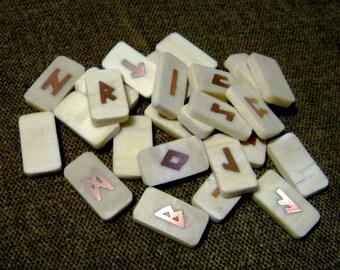 Rune Set. Bone runes. Bone and Copper Elder Futhark Runes