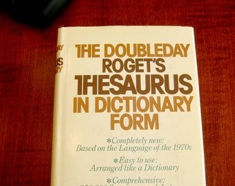 Roget's Thesaurus in Dictionary Form - Vintage Reference Book - Brown Library Book - Doubleday 1970's Reference Book