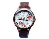 Vintage Floral Watch, Women's Genuine Leather Watch, Floral Watch