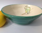 Pottery Fruit Bowl Green Bird Ceramics Wedding Gift Idea Made in UK