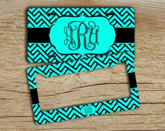 Monogram license plate or frame, Personalized front license plate, Preppy car tag, Auto accessory Cute bicycle accessories Aqua black (1278)