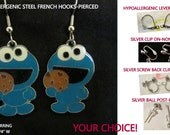 Cookie Monster Earrings Stamped  -CHOICE- Steel Hypoallergenic French Hook Street Leverback Post Pierced OR Clip On