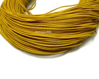 5 metre (5,47yd) Genuine LEATHER Cord 1 mm Yellow