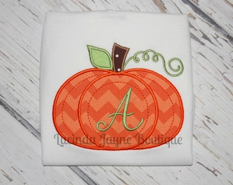 Pumpkin Applique Shirt with Initial