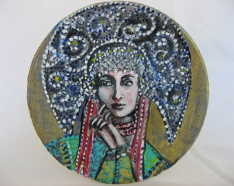 Russian princes, painting on a saucer