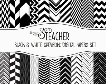 Digital Papers: Black & White Chevron Styles
