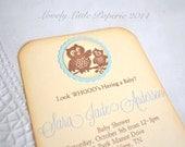 Blue Owl Invitation 2 - Vintage Inspired Birthday Baby Shower