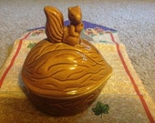 Vintage Walnut With Squirrel Nut / Candy Dish Made In China