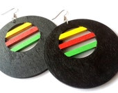 Afro-Eccentric Circle Hand Painted Wooden Earrings