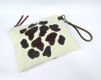 SALE Leather zipper clutch , leather purse,  zipper pouch, passport holder, money holder , leather wristlet