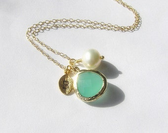 Personalized necklace-Mint glass pendant with initial bridesmaid necklace