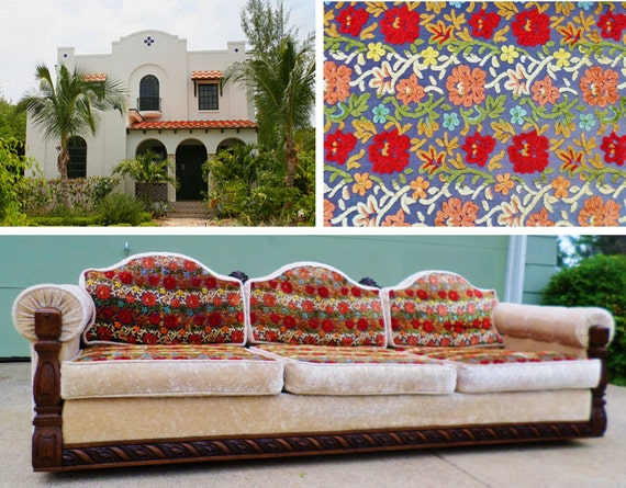 Spanish Colonial Revival Sofa Howard Parlor Couch