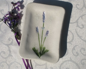 Lavender Tray, Lavender Herb Plant Imprint, Ceramic and Pottery, Ceramic Gift from Nature, Lavender Jewelry Tray, Jewelry Dish, Lavender