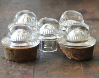 vintage apothecary jar bottle glass ufo  lids