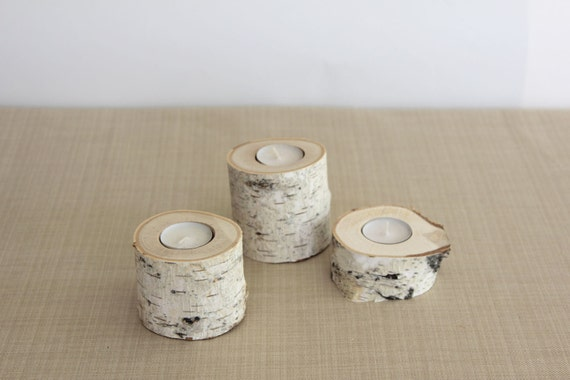 Set of 3 small Birch Candle Holders